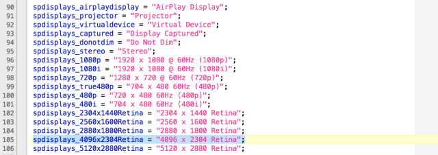 Retina screen resolutions, including the various Retina MacBook models, the 5K iMac, and a model we haven't seen yet.