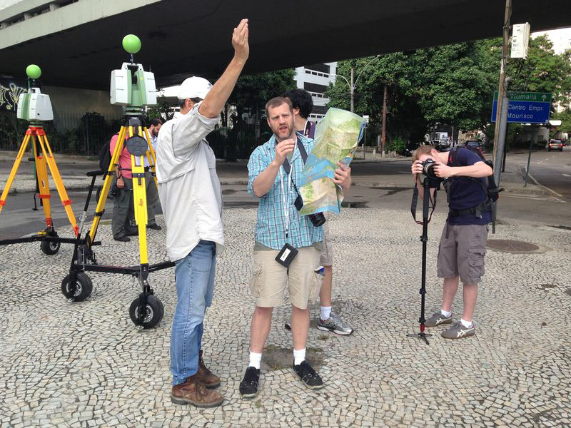 Turn 10 on location in Rio, scanning, measuring, and photographing.