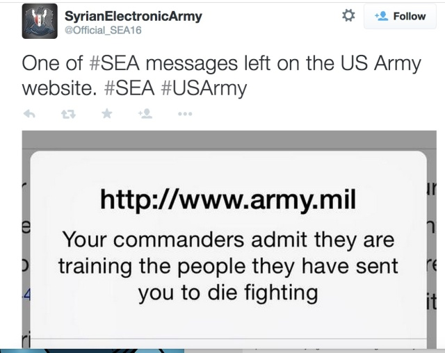 One of several messages popped up by the defaced Army.mil sites.