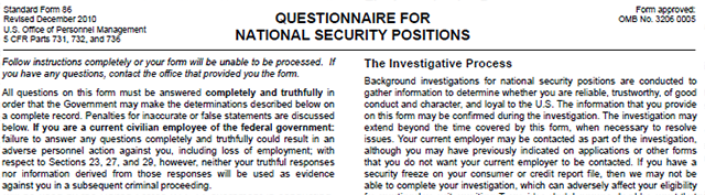 The header to SF-86, the questionnaire filled out by all candidates for security clearance background investigations. All that data goes into OPM's CVS.