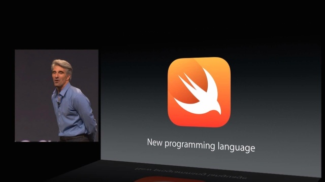 Apple's Craig Federighi introducing Swift at WWDC 2014.