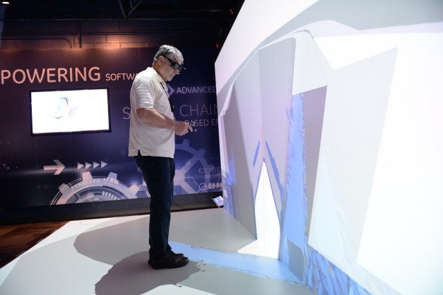A GE Global Research engineer virtually exploring a test part in GE's Brilliant Factory Lab pulled from the Digital Manufacturing Commons environment.