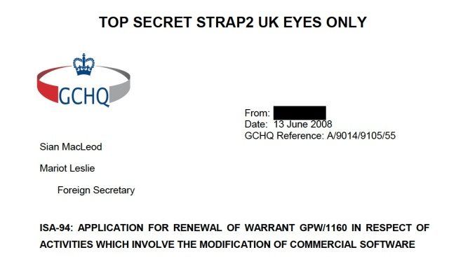 Requesting permission to pwn all the things, please: GCHQ's warrant request for software reverse engineering.
