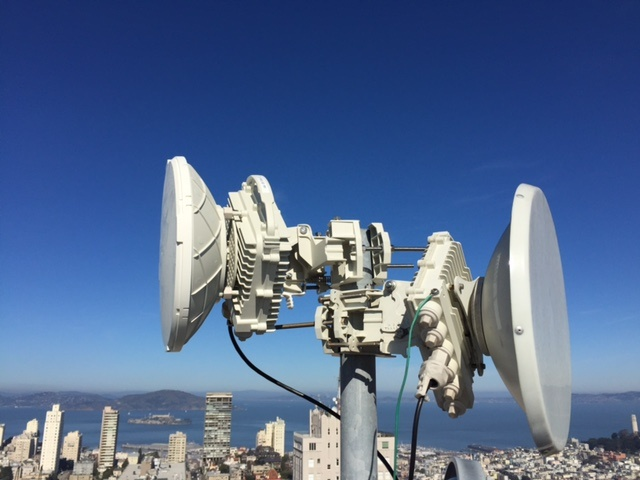 Webpass radios on a San Francisco building.