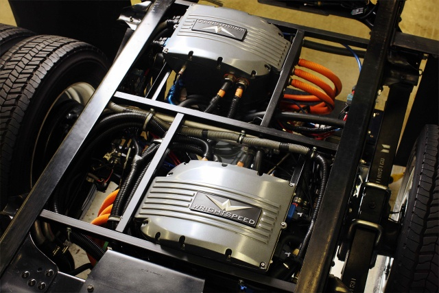 Wrightspeed's electric powertrain fitted to a truck chassis.