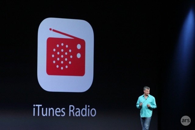 Eddie Cue introducing iTunes Radio at WWDC 2013. Per the <em>Wall Street Journal</em>, Apple's new service will be for-pay instead of for-free.