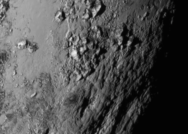 Pluto's water-ice mountains.