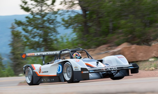 Rhys Millen pilots his Drive eO PP03 electric car up the mountain to victory.