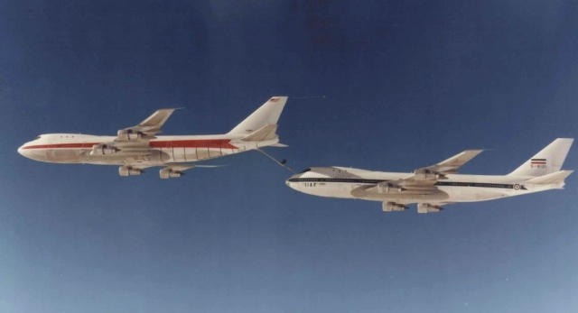 An Iranian Air Force 747 refuels another 747 in the 1970s.