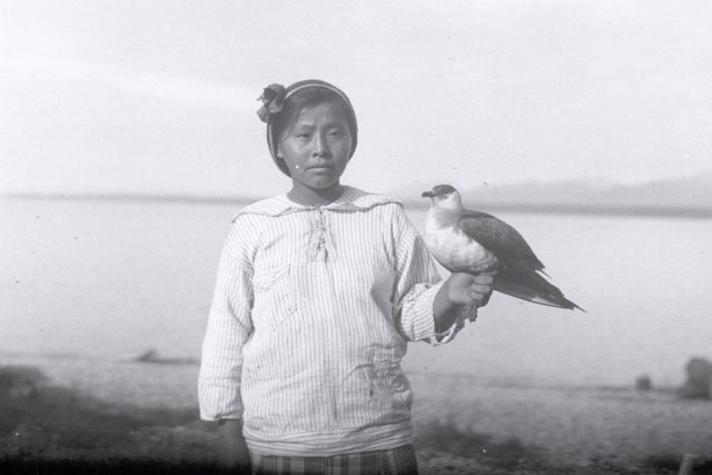 An Athabaskan woman, photographed in 1921.