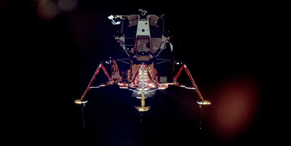 Apollo 11's <em>Eagle</em> moves slowly away from <em>Columbia</em> and prepares for landing.