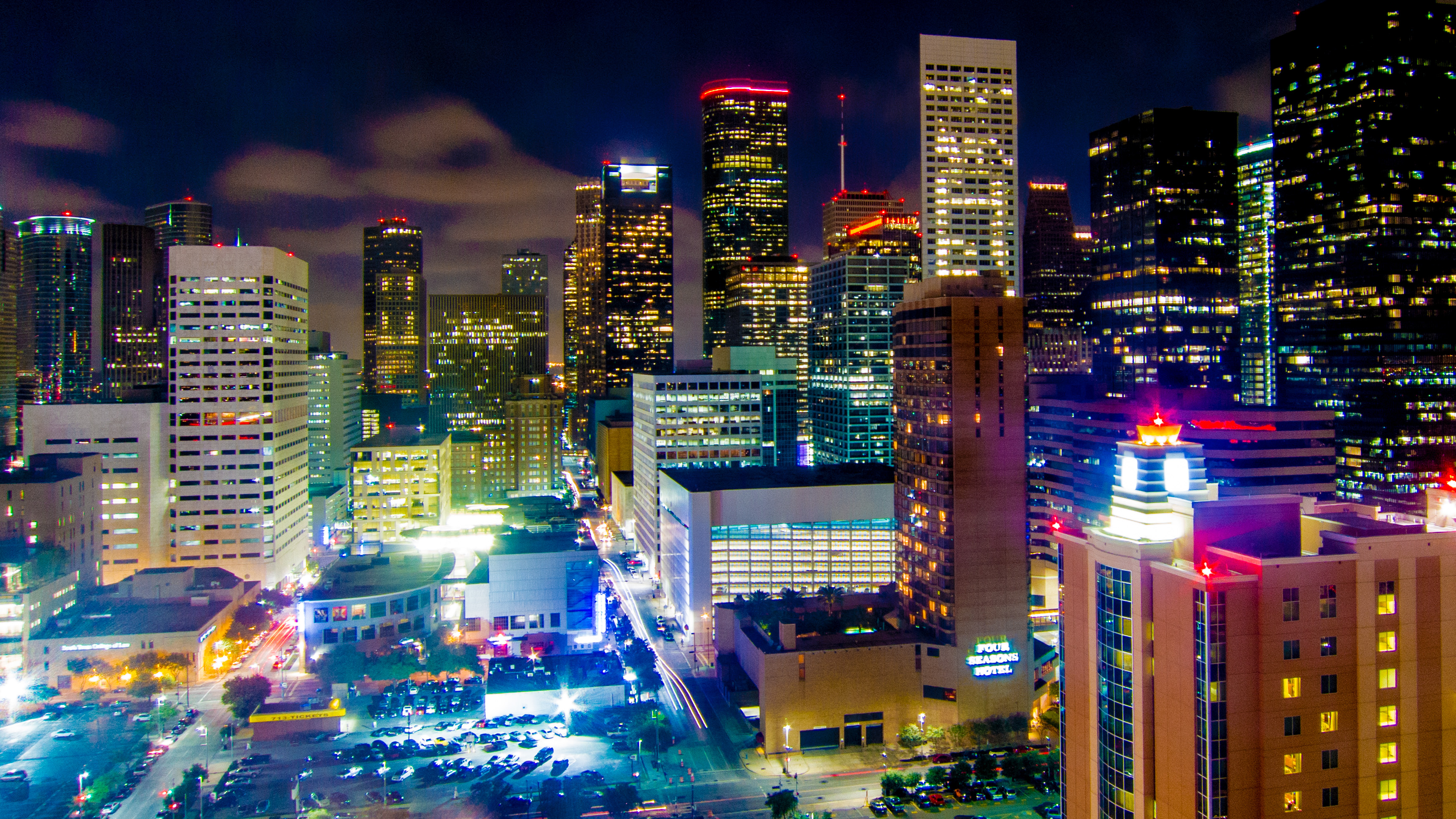 Downtown Houston at night, seen from the Hilton. This is a slightly different angle on what I stared at for two solid weeks.