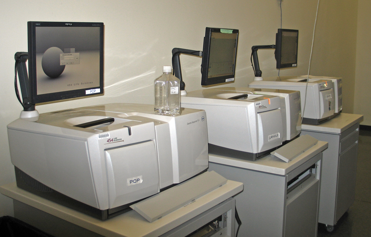 A small row of identical sequencing machines (454's from a company now owned by Roche) at the Broad Institute.