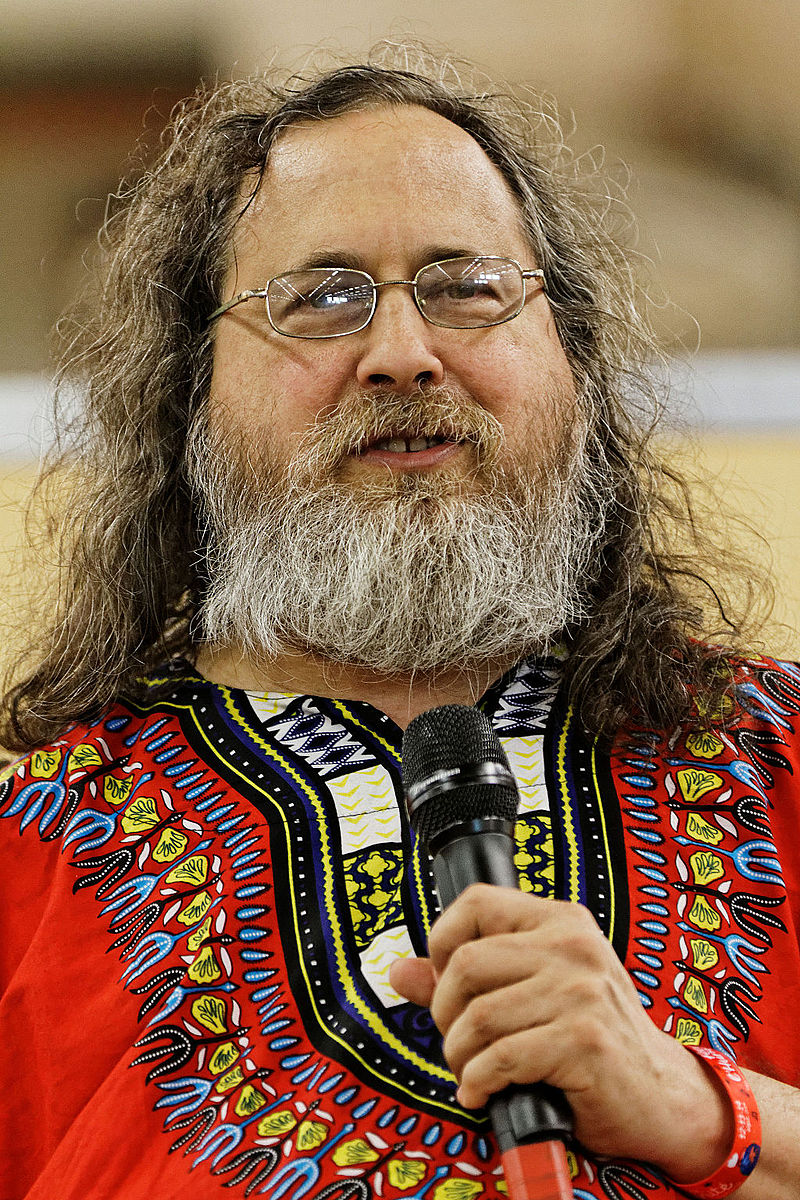 Stallman speaks at a conference in 2014.