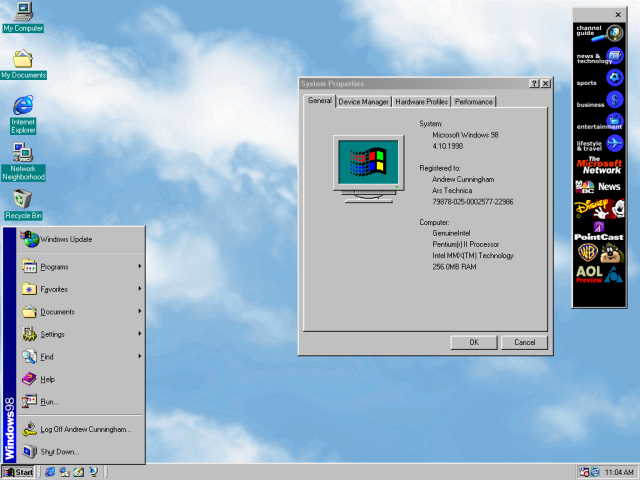 Windows 98 could show your favorites from Internet Explorer—integrating its OS and its browser got Microsoft into some regulatory trouble, as you might recall.