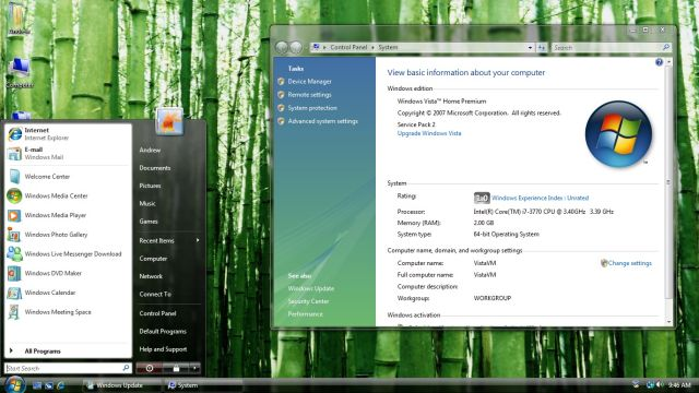 Windows Vista's Start menu and its integrated Search box.