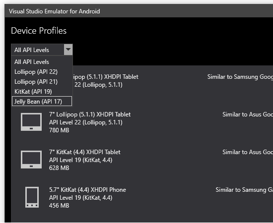 A number of recent versions of Android are supported in the emulator.