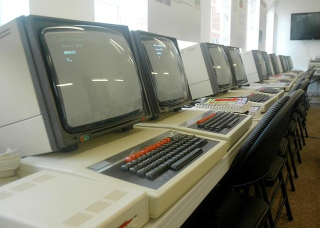 A bank of BBC Micros at the National Museum of Computing