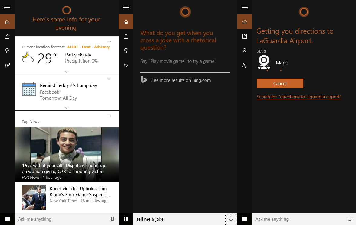 From left to right: Cortana's regular useful info, some of her chitchat, and her integration with other apps.