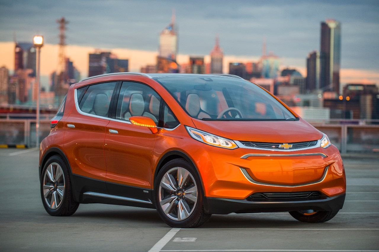 The Chevrolet Bolt is a long-range PEV, coming to showrooms next year. GM are targeting 200-mile range and a $30,000 price tag (after federal incentives).