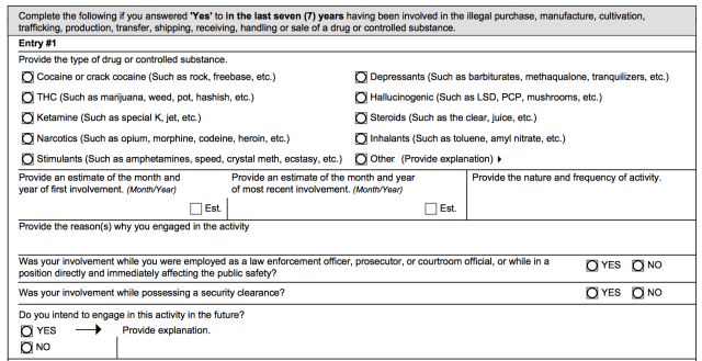These forms are thorough. (this is the longer SF-86)