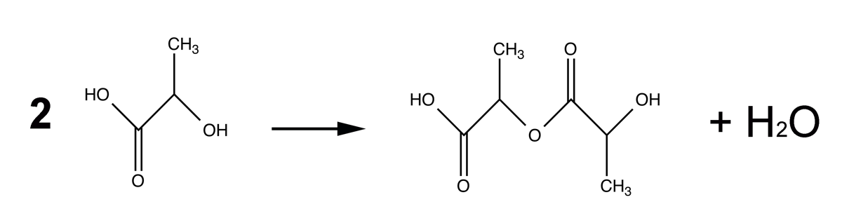 Two lactic molecules can condense into a larger molecule, releasing a water. The groups at the end of the molecule can react further, creating a chain.