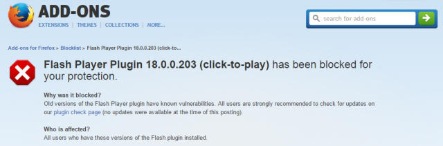 Firefox blacklists Flash player due to unpatched 0-day vulnerabilities
