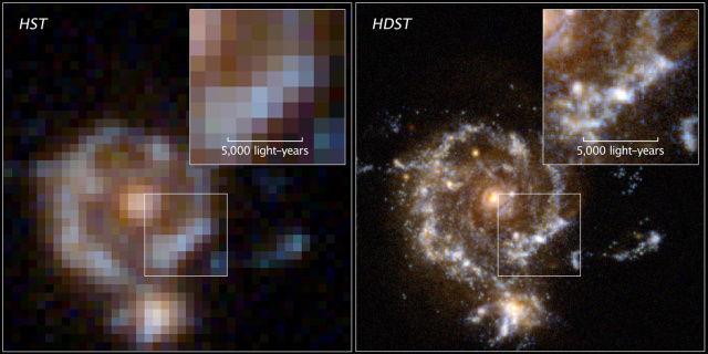 A simulated view of what a galaxy imaged by Hubble (left) would look like if the High Definition Space Telescope were unleashed on it.