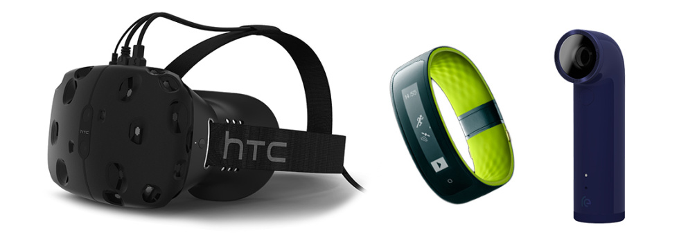 HTC's expanded lineup: the Vive VR headset, the Re Grip, and the Re.