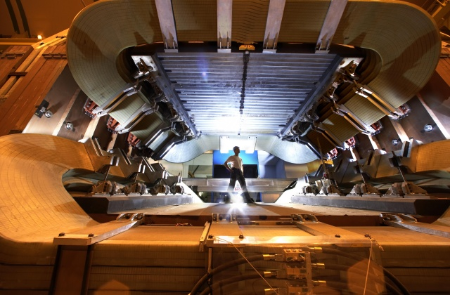 The LHCb magnets under construction.