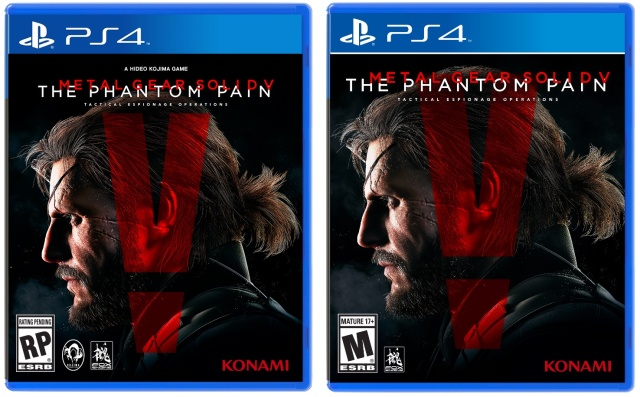 "The original placeholder box art released by Konami (left) and the newly released box art (right) with a final rating and no ""Kojima"" branding."