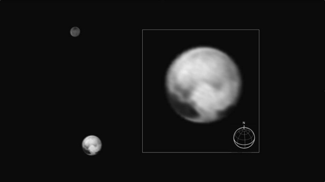 Pluto and its moon Charon. Inset shows a detail of Pluto, showing the large contrast between different areas of the dwarf planet's surface.