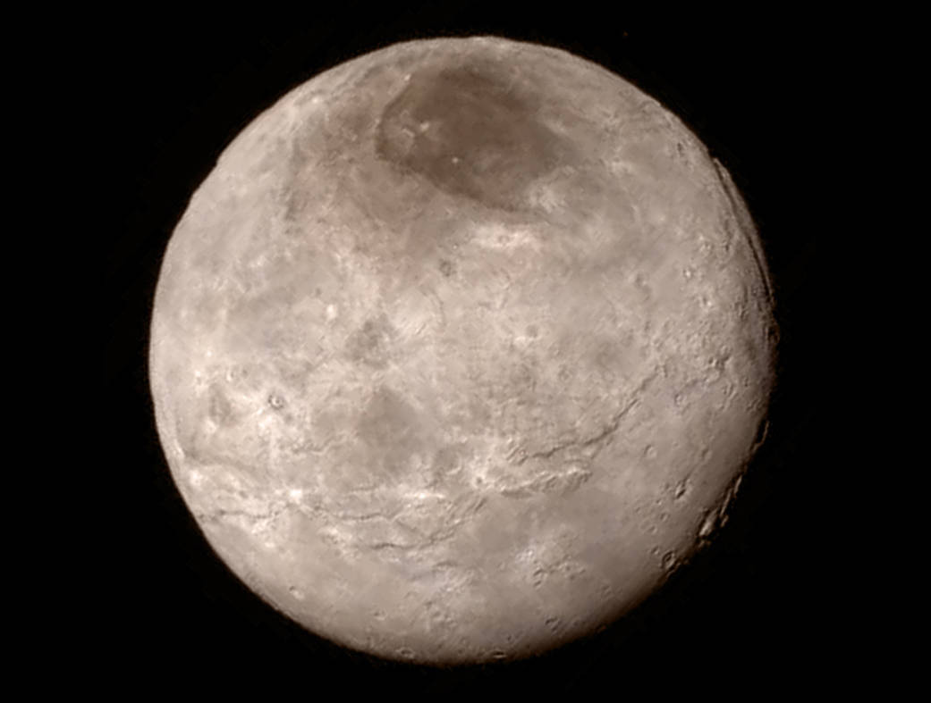 An image of Charon captured on July 13 from a distance of 466,000km (289,000 miles).