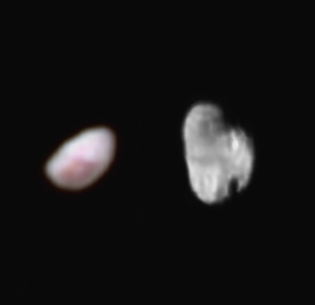 Best image yet of Pluto's small moons, Nix (left) and Hydra (right).