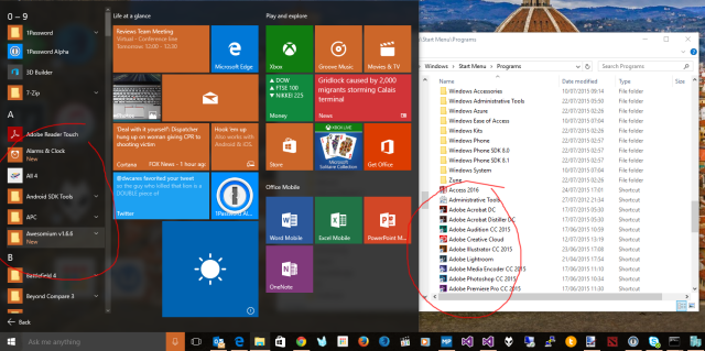 Where oh where are all my icons, Start menu?