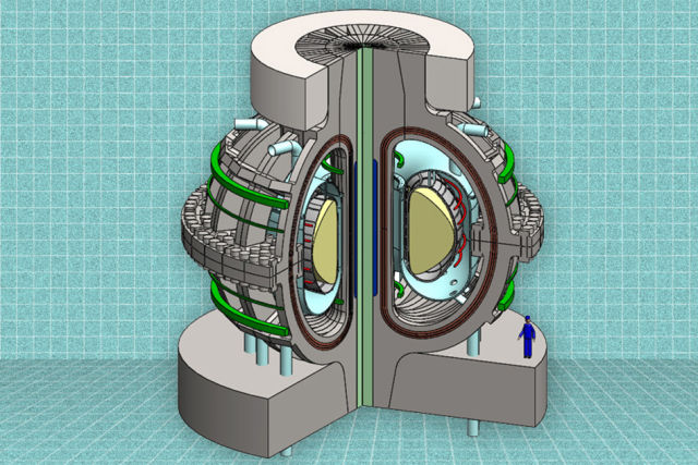 "A schematic of the proposed ARC fusion reactor. Human included to demonstrate that the ""compact"" design is, well, enormous."