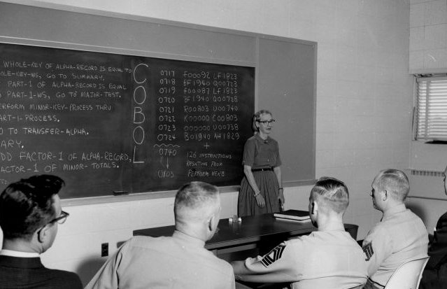 Grace Hopper presents COBOL in this 1961 image.