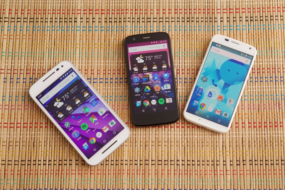 The 2015 Moto G, the 2013 Moto G, and the 2013 Moto X. Motorola has done a good job establishing a competent family of phones with a strong visual identity.