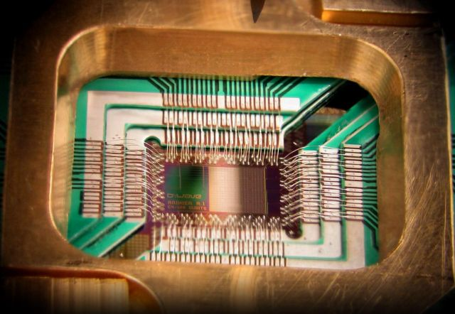 A chip manufactured by D-Wave Systems that has some quantum properties.