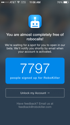 Waiting patiently to kill some robocalls.