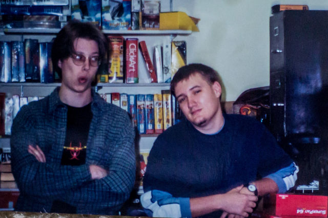 The author (left) and his buddy Matt (right), at Babbage's, circa summer 1995.