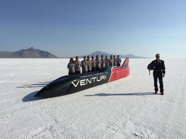 The Venturi and The Ohio State University team on the salt at Bonneville, August 2015.