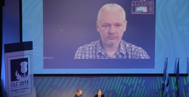 Julian Assange gives a live talk in April from Ecuador's embassy in the UK.