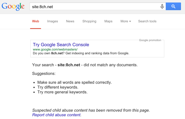 8chan-hosted content disappears from Google searches [Updated]