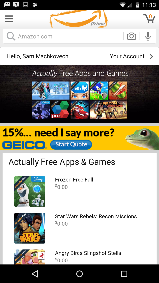 Amazon's new games and apps store: Free for users, 12¢ an
