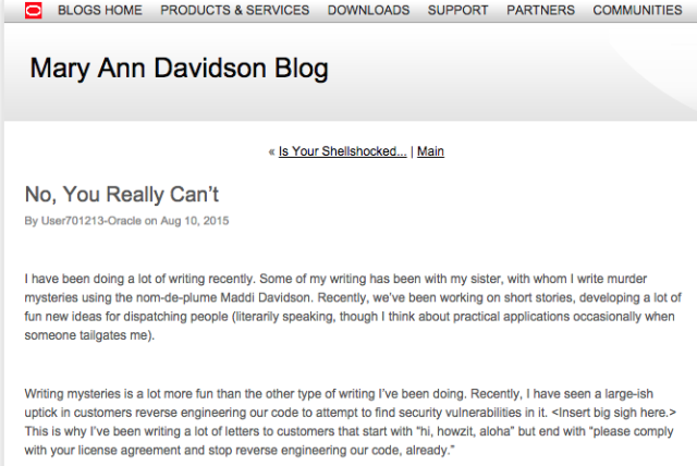 The now-deleted post by Mary Ann Davidson, Oracle's CSO.