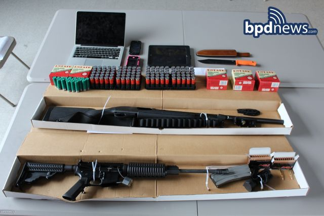 Weapons and ammo police said they seized from the two suspects.