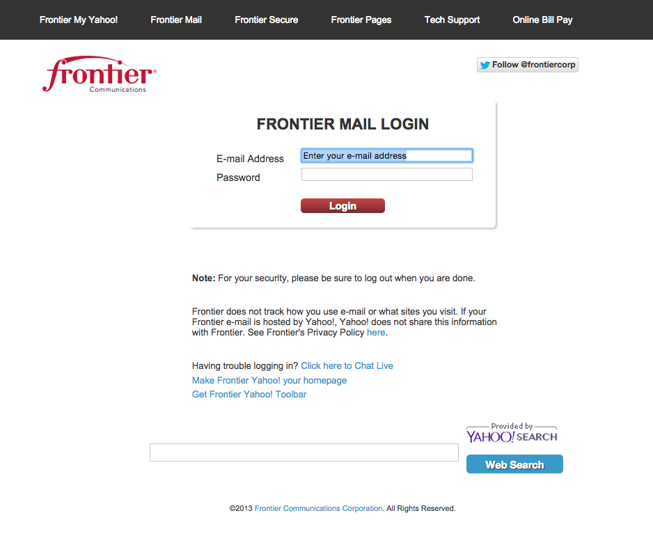 Frontier mail sign in