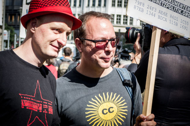 Andre Meister and Markus Beckedahl taking part in Saturday's demonstration in Berlin.