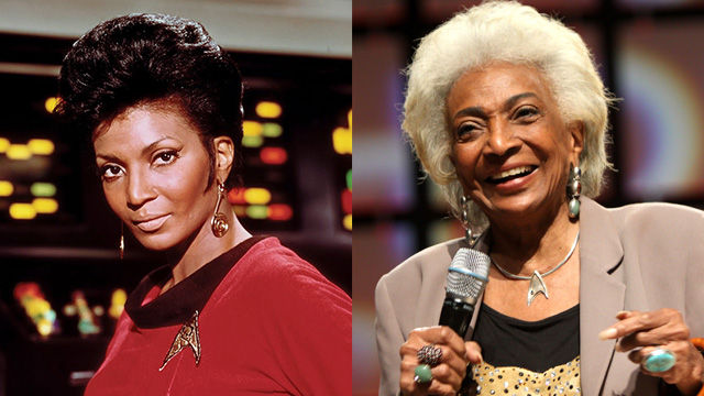 Nichelle Nichols, on the set of the original Star Trek series, and at the 2013 Phoenix Comicon in Phoenix, Arizona.